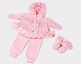 Saida maternidade tricot bebe pompom casaco calcas botinhas