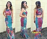 Vestido feminino longo rabo de seria sem bojo levanta bumbum
