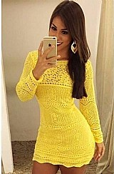 Vestidos femininos tricot croche manga longa