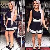 Vestido feminino rodado princesa cintura marcada