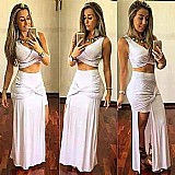 Conjunto cropped saia longa fenda / sereia babado verao 2016