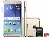 Smartphone samsung galaxy j7 duos 16gb dual chip - 4g cam 13mp   selfie 5mp flash   cartao 16gb cartao 16gb