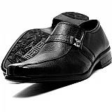 Sapato social masculino couro bico quadrado promocao brinde