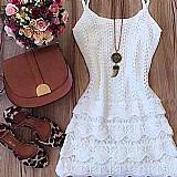 Vestido feminino tricot croche renda roupa feminina branco