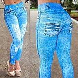 Calca legging jeans fake imita jeans azul