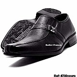 Sapato social masculino couro elastico bico quadrado