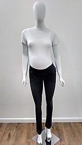 Calca gestante jeans reta preta amor mae moda gestante