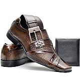 Sapato social couro envernizado cinto e carteira