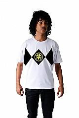 Camiseta power rangers branco customizada algodao