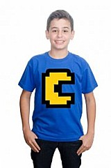 Camiseta minecraft pac man infantil algodao