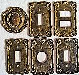 Espelhos tomadas (6 pecas),   em metal / bronze ouro velho bem antigas,   detalhes altoe baixo relevos