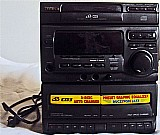 Som aiwa,   3 cd's e 2 caixas preto usado