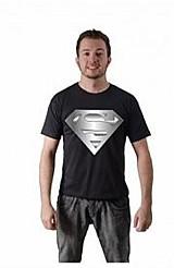 Camiseta superman logo prateado algodao