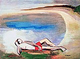 Jovem deitado na praia,  obra dorival caymmi,  2 medidas