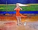 Mulher posando no jardim,  quadro de dorival caymmi,  doacao para trabalho escolar