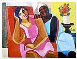 Duas mulatas e jarro de flores,  quadro do artista di cavalcanti 1957