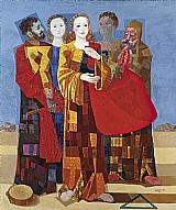 Santa cecilia e seus seguidores,  quadro do artista candido portinari 1954