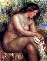 Mulher jovem banhando-se,  quadro do artista renoir