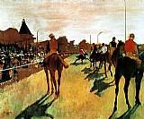 Nas corridas,   cavaleiros perfilados antes da apresentacao,   quadro do artista degas