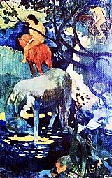 O cavalo branco na selva e  indigenas,   quadro do artista paul gauguin