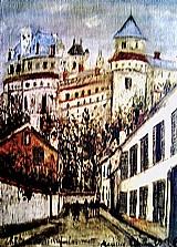 Castelo de pierrefonds,   fortificado do seculo xvii,   quadro do artista utrillo