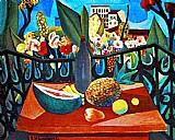 Mesa com frutas,  melancia,  abacaxi,  caju,  natureza morta,  quadro de di cavalcanti