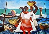 Quadro mulheres comprando peixe,  quadro de di cavalcanti