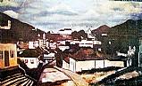 Quadro vista de ouro preto,  igrejas,  quadro do artista guignard
