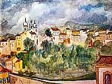 Povoado e igrejas,  vista de ouro preto,  quadro de guignard