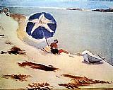 Marinha,  banhista com guarda sol,  quadro de pancetti