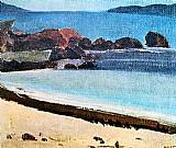 Praia e serras,  marinha,  vista panoramica,  quadro de pancetti