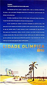 Cidade olimpica,  folder postal rio 2016 para colecao