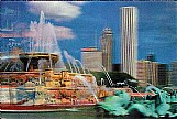Navy pier,   buckingham foutain,   chicago,   il,   cartao em  3d,   lindo