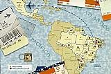 Cartã£o brasil,  entre 2 oceanos,  pacifico e atlantico conforme mapa