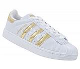 Tenis adidas superstar branco e ouro lançamento