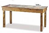Mesa madeira pinus com ladrilho 160x80x82cm