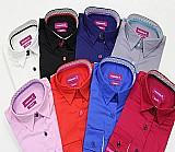 Camisa feminina de algodao acetinado slim fit
