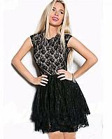 Vestido casual moda renda preto