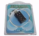 Placa de som 7.1 usb adaptador audio pre escuta virtual dj