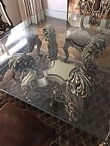 Mesa luis xv com tampo de vidro 15mm