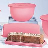 Tigela murano rosa e porta bolo retangular murano rosa quartzo tupperware