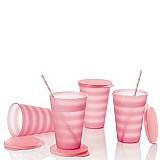 Copo murano rosa quartzo da tupperware