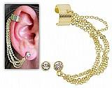 Brinco ear cuff folheado a ouro contendo quatro correntinhas e pedra de strass