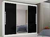 Guarda-roupa casal 3 portas de correr com espelho - 6 gavetas - gelius genesis