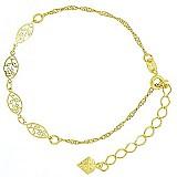 Pulseira folheada a ouro,  contendo detalhes em filigranas de chapa vazada em forma de flor.