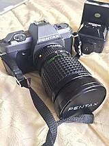 Kit pentax: - camera p30t - lente pentax - a zoom 1:3.5 35 ~ 105mm lente smc pentax - a 1:1.7 50mm lente smc pentax - a 1:4.7 - 5.6 80-200mm flash achiever dedicated thyristor dz260  mochila   disparador   filtros equipamento para que