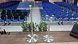 Conjunto púlpito de acrílico e aço inox hillsong 001 e aparador  modelo de entrega rápida !!!