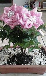 Tiara infantil com flores e perolas