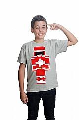 Camiseta minecraft power rangers skin vermelho algodao