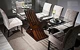 Mesa madeira macica tampo de vidro 6 cadeiras estofadas